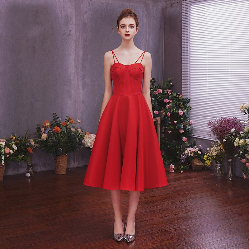 Chic / Beautiful Solid Color Burgundy Homecoming Graduation Dresses 2019 A-Line / Princess Spaghetti Straps Sleeveless Backless Tea-length Formal Dresses