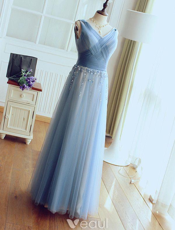 Glamourösen Abendkleider 2017 V-ausschnitt Geraffte Tüll Mit Pailletten Quaste Lange Kleid