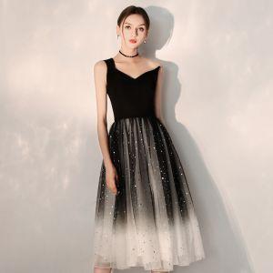 Mode Schwarz Farbverlauf Heimkehr Abiballkleider 2019 A Linie One-Shoulder Ärmellos Glanz Tülle Wadenlang Rüschen Rückenfreies Festliche Kleider