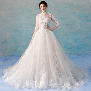Chinese style Illusion Champagne Wedding Dresses 2018 A-Line / Princess High Neck 3/4 Sleeve Backless Beading Appliques Lace See-through Ruffle Cathedral Train