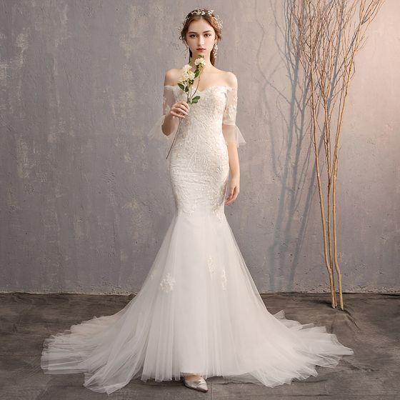 Najpiękniejsze Ekskluzywne Białe Syrena Rozkloszowane Suknie