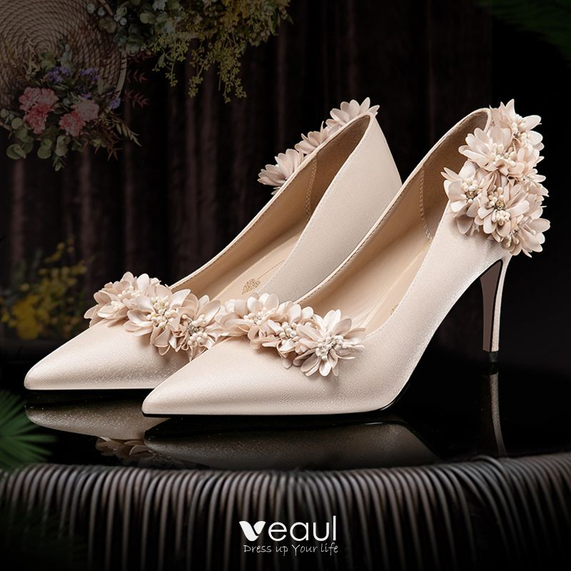 Fashion Champagne Wedding Shoes 2020 Satin 3D Lace