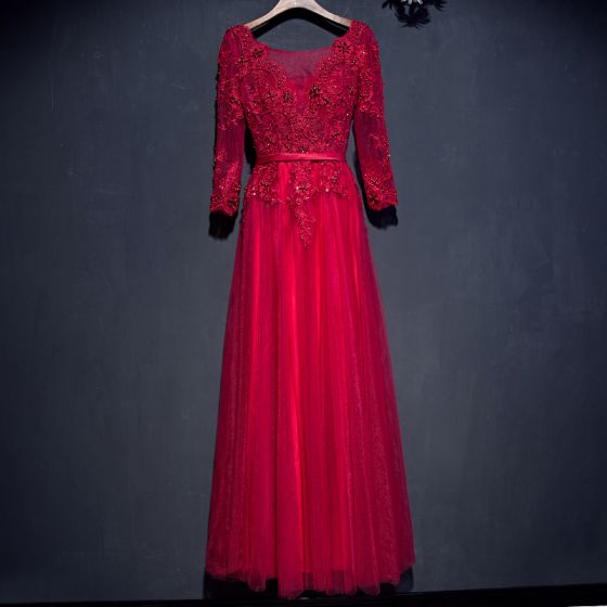 Hermoso Rojo Vestidos Formales Vestidos de noche 2017 De Encaje Flor Lentejuelas Perla 3/4 Ærmer V-Cuello La altura del tobillo A-Line / Princess