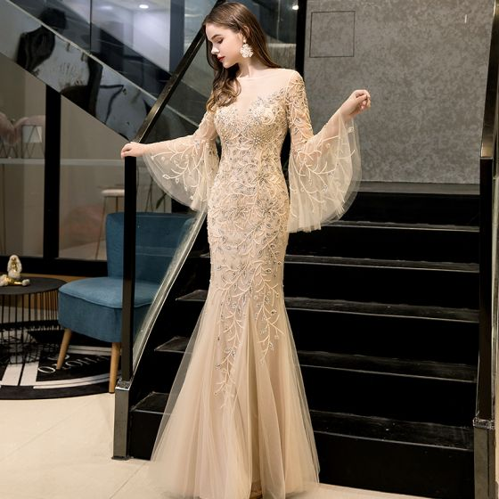 High-end Gold See-through Evening Dresses  2020 Trumpet / Mermaid Square Neckline Long Sleeve Bell sleeves Handmade  Beading Floor-Length / Long Ruffle Formal Dresses