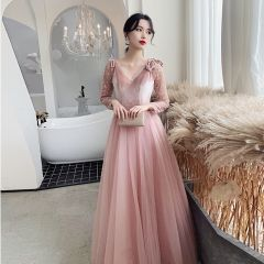 Chic / Beautiful Candy Pink Evening Dresses  2020 A-Line / Princess V-Neck Long Sleeve Appliques Lace Floor-Length / Long Ruffle Backless Formal Dresses