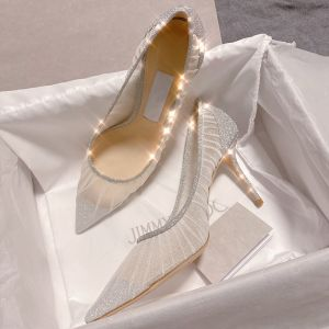 Charming Silver Sequins Wedding Shoes 2020 Lace 9 cm Stiletto Heels Pointed Toe Wedding Pumps