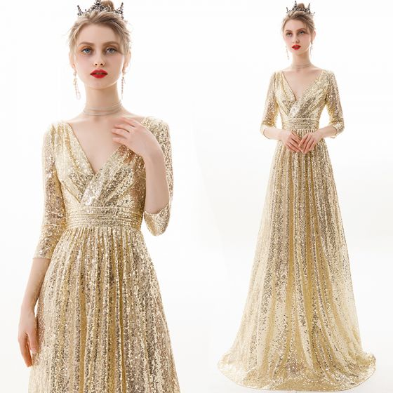 Sparkly Champagne Evening Dresses  2019 A-Line / Princess V-Neck Sequins 3/4 Sleeve Backless Floor-Length / Long Formal Dresses