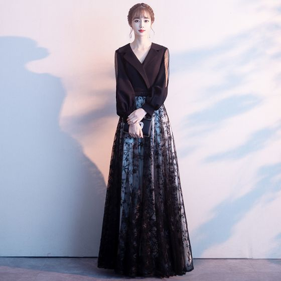 Affordable Black Evening Dresses  2020 A-Line / Princess V-Neck Puffy Long Sleeve Star Appliques Lace Floor-Length / Long Ruffle Formal Dresses