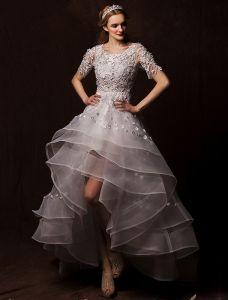 2015 A-linie Scoop Neck Asymmetrischen Schultern Appliques-spitze Blumen Plissierte Brautkleider kurz