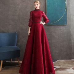Vintage / Retro Burgundy Lace Evening Dresses  2020 A-Line / Princess High Neck Puffy 3/4 Sleeve Beading Sash Floor-Length / Long Backless Formal Dresses