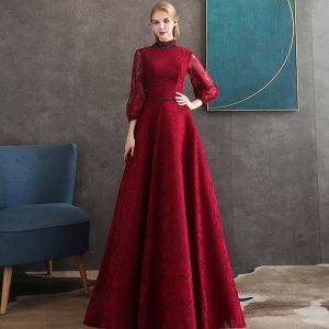 Vintage / Retro Burgundy Lace Evening Dresses  2020 A-Line / Princess High Neck Puffy 3/4 Sleeve Beading Sash Floor-Length / Long Backless Formal Dresses