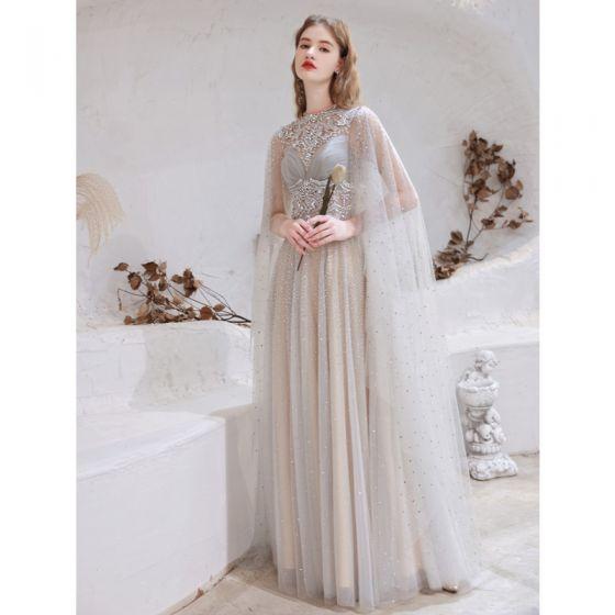 Uroczy Wysokiej Klasy Szary Sukienki Wieczorowe 2021 Princessa Wycięciem Frezowanie Rhinestone Cekiny Bez Rękawów Długie Wieczorowe Sukienki Wizytowe