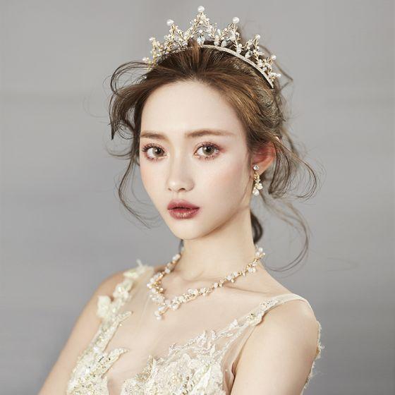 Chic / Beautiful Gold Tiara Earrings Necklace 2019 Metal Beading Pearl Rhinestone Bridal Jewelry Wedding Accessories