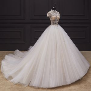 Illusion Ivory Bridal Wedding Dresses 2020 Ball Gown See-through High Neck Short Sleeve Backless Handmade  Beading Chapel Train