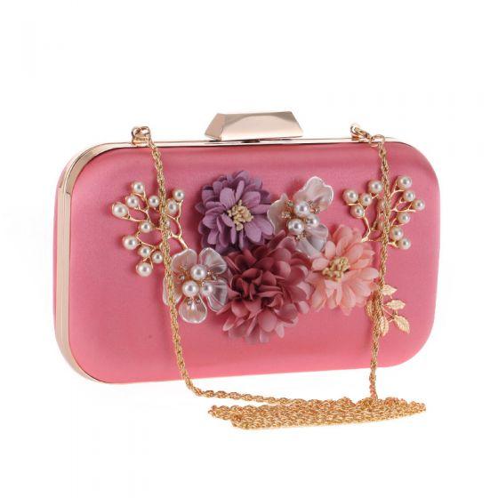 Blumenfee Pink Quadratische Clutch Tasche 2020 Metall Handgefertigt Blumen Strass Perle