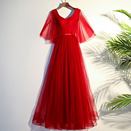 Chinese style Red Evening Dresses  2017 Strappy Tulle Evening Party