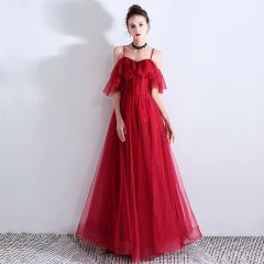 Chic / Beautiful Burgundy Evening Dresses  2019 A-Line / Princess Spaghetti Straps Beading Crystal Sleeveless Backless Floor-Length / Long Evening Party Formal Dresses
