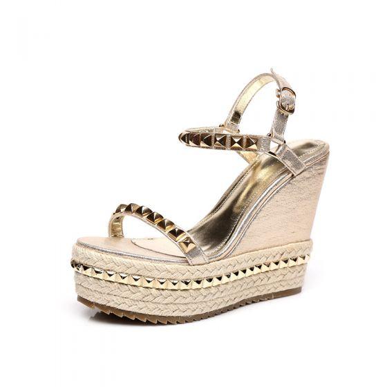 Sparkly Gold Womens Sandals Outdoor / Garden 2017 PU Rivet Braid High Heel Open / Peep Toe Sandals