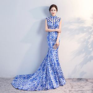 Chinese style Royal Blue Chapel Train Evening Dresses  2018 Trumpet / Mermaid High Neck Appliques Backless Printing Charmeuse Evening Party Formal Dresses
