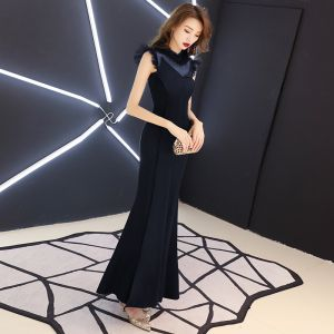Vintage / Retro Navy Blue See-through Evening Dresses  2019 Trumpet / Mermaid High Neck Sleeveless Floor-Length / Long Ruffle Formal Dresses