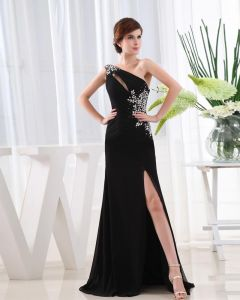 Chiffon Beading Slopping Flower Sleeveless Backless Floor Length Slit Prom Dress