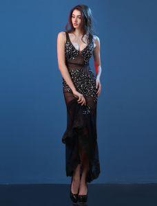 Sexy Transparent Abendkleider 2016 Meerjungfrau Tiefem V-ausschnitt-spitze Der Kristall Schwarzem Tüll Abendkleid