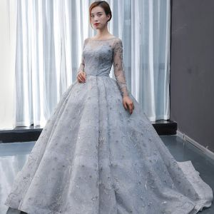 High-end Grey See-through Prom Dresses 2020 Ball Gown Square Neckline Long Sleeve Appliques Lace Beading Sweep Train Ruffle Backless Formal Dresses