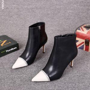 To farger Svart Gateklær Lær Kvinners støvler 2021 Ankel 8 cm Stiletthæler Spisse Boots