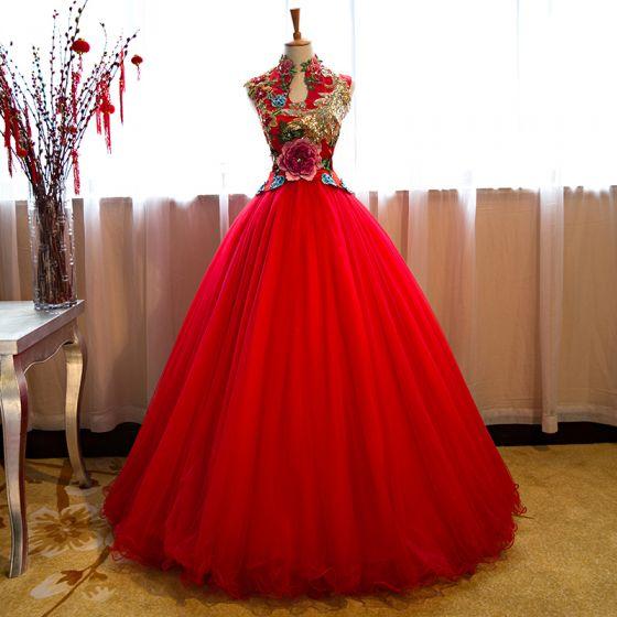 Chinesischer Stil Transparent Rot Ballkleider 2019 A Linie Stehkragen Perlenstickerei Pailletten Kristall Spitze Applikationen Ärmellos Lange Festliche Kleider