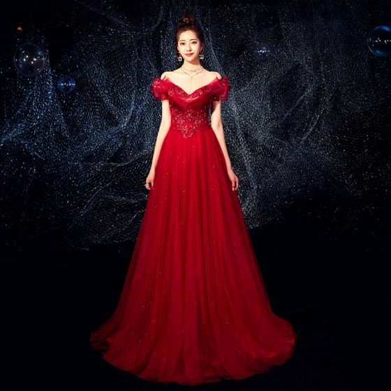 Charming Burgundy Evening Dresses  2019 A-Line / Princess Off-The-Shoulder Beading Sequins Crystal Appliques Lace Flower Short Sleeve Backless Floor-Length / Long Formal Dresses