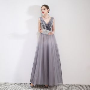 Elegant Gradient-Color Grey Evening Dresses  2019 A-Line / Princess V-Neck Crystal Lace Flower Sleeveless Backless Floor-Length / Long Formal Dresses