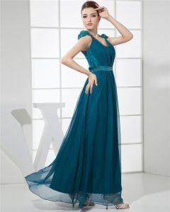 Mode Mousseline De Soie Charmeuse De Soie Dentelle Plissee Col En V Etage Longueur Robe Sans Manches Femmes De Soirée