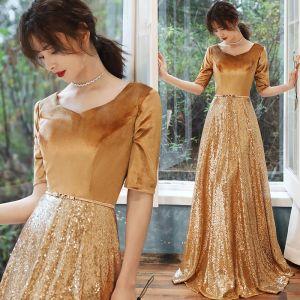 Sparkly Gold Evening Dresses  2020 A-Line / Princess Suede V-Neck Sequins 1/2 Sleeves Backless Floor-Length / Long Formal Dresses