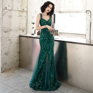 Chic / Beautiful Dark Green Evening Dresses  2020 Trumpet / Mermaid Shoulders Sleeveless Glitter Sequins Floor-Length / Long Ruffle Backless Formal Dresses