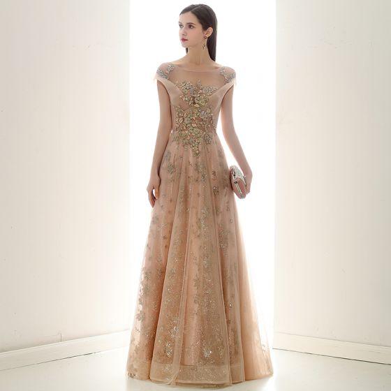 Elegant Champagne Evening Dresses  2020 A-Line / Princess Scoop Neck Short Sleeve Appliques Sequins Beading Glitter Tulle Floor-Length / Long Ruffle Backless Formal Dresses