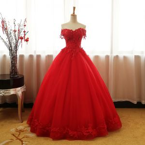 Chic / Beautiful Red Prom Dresses 2017 Ball Gown Strapless V-Neck Short Sleeve Appliques Lace Rhinestone Beading Sequins Floor-Length / Long Ruffle Backless Formal Dresses