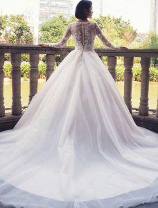 Robe De Mariée Glamour 2017 V-cou Applique Dentelle Blanche Robes De Mariée Avec Le Train