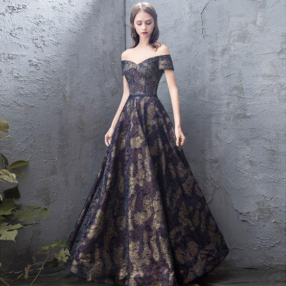 Elegant Mørk Marineblå Ballkjoler 2019 Prinsesse Av Skulderen Blonder Rhinestone Korte Ermer Ryggløse Lange Formelle Kjoler