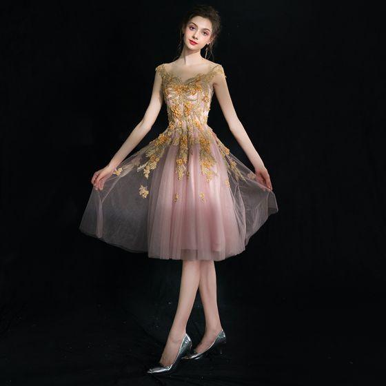único Rosa Clara Cortos Vestidos De Graduación 2018 Apliques Sin Espalda Crystal Tul V Cuello Noche Sin Mangas A Line Princess Vestidos Formales