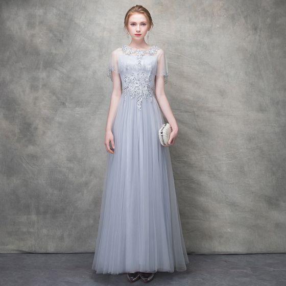 Piękne Szary Sukienki Wieczorowe 2018 Princessa Z Koronki Kwiat Kryształ Perła Wycięciem Kótkie Rękawy Długość Kostki Sukienki Wizytowe