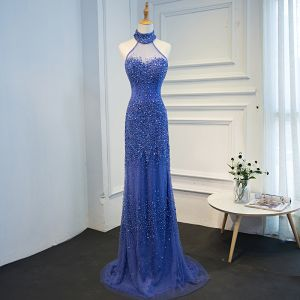 Luxury / Gorgeous Ocean Blue Handmade  Beading Evening Dresses  2019 Trumpet / Mermaid Halter Crystal Sequins Sleeveless Sweep Train Formal Dresses