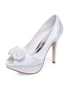 Chaussures Mariage Élégant Peep Toe Escarpins Talons Aiguilles Blanc Satin Chaussures De Mariée Hauts Talons