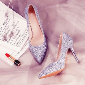 Sparkly Silver Wedding Shoes 2018 Leather Sequins 7 cm Stiletto Heels Pointed Toe Wedding High Heels