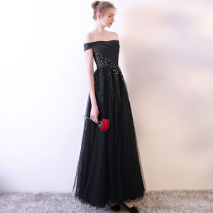 Modern / Fashion Black Evening Dresses  2018 A-Line / Princess Lace Strapless Appliques Beading Backless Evening Party Formal Dresses