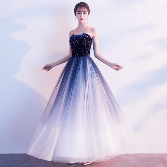 Charming Navy Blue Prom Dresses A-Line /