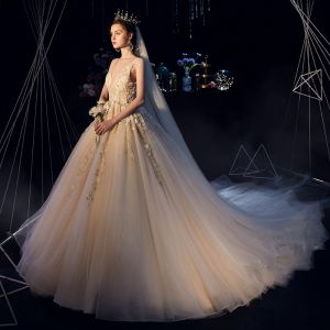 Luxury / Gorgeous Champagne Wedding Dresses 2019 A-Line / Princess Deep V-Neck Sleeveless Backless Appliques Lace Beading Glitter Tulle Chapel Train Ruffle