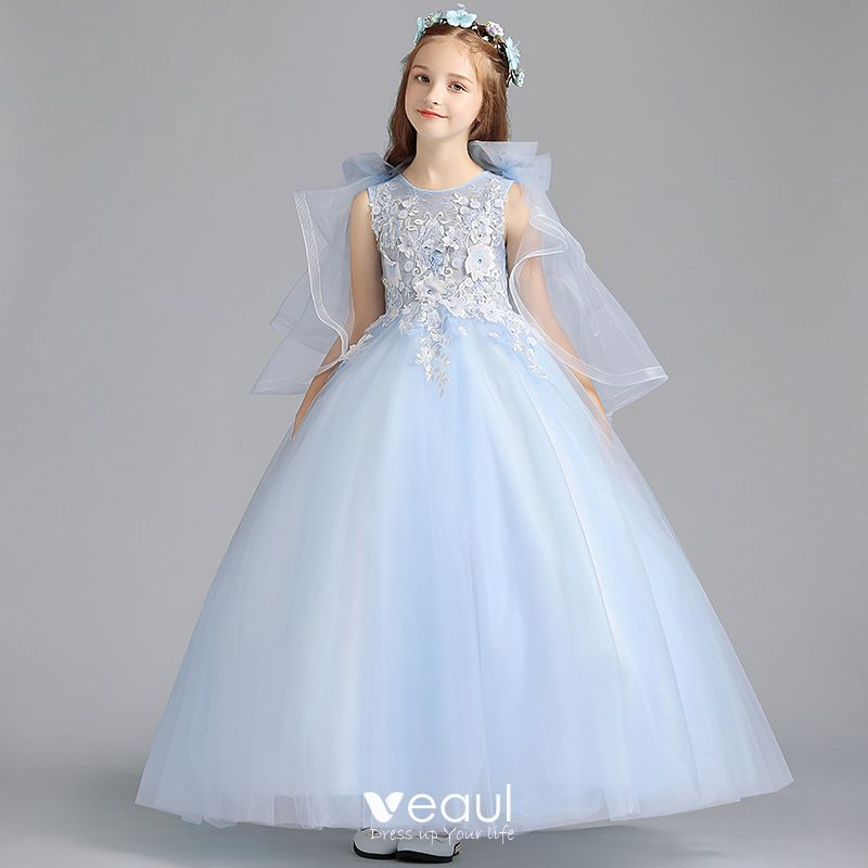 Beautiful Sky Blue Flower Girl Dresses