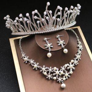 Oszałamiający Srebrny Biżuteria Ślubna 2019 Metal Perła Rhinestone Tiara Kolczyki Naszyjnik Akcesoria
