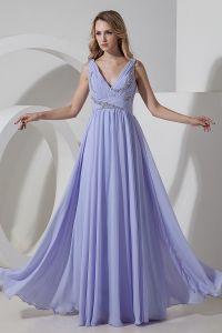 2015 Die Neuesten Reißverschluss Chiffon- Lavendel Lange Abendkleider
