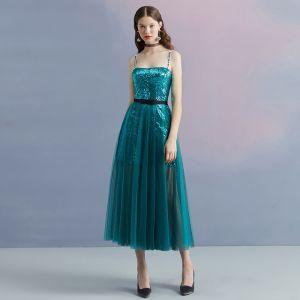 Brillante Azul Tinta Verano de fiesta Vestidos de graduación 2018 A-Line / Princess Hombros Sin Mangas Lentejuelas Manchado Tul Té De Longitud Ruffle Sin Espalda Vestidos Formales